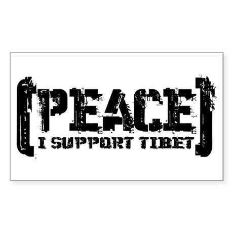 Peace - I Support Tibet Rectangle Sticker