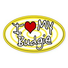 Hypno I Love My Budgie Oval Sticker Ylw