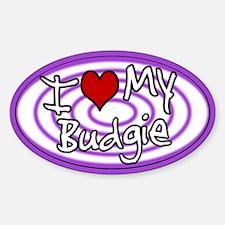Hypno I Love My Budgie Oval Sticker Purp