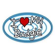 Hypno I Love My Budgie Oval Sticker Blue