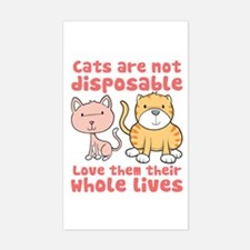 Cats Are Not Disposable Rectangle Decal