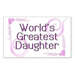 World's Greatest Daughter Rectangle Sticker 50 pk