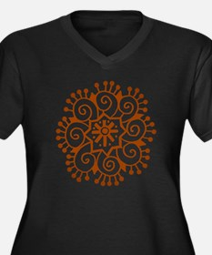Henna Tattoo Women's Plus Size V-Neck Dark T-Shirt