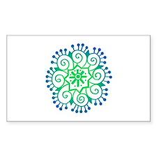 Henna Tattoo in BlueGreen Rectangle Decal