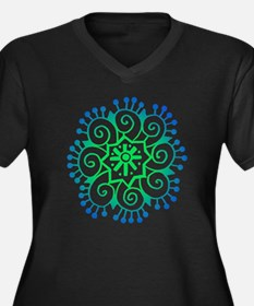 Henna Tattoo in BlueGreen Women's Plus Size V-Neck