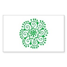 Henna Tattoo in Green - Rectangle Decal