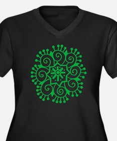 Henna Tattoo in Green - Women's Plus Size V-Neck D
