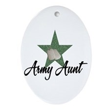 Army Aunt Oval Ornament