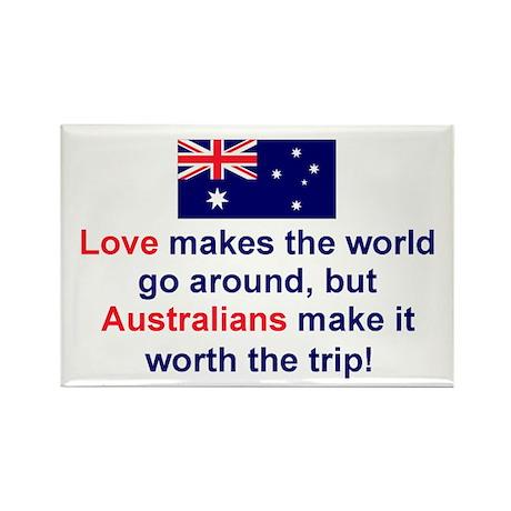 Love Australians Rectangle Magnet