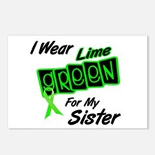 I Wear Lime Green For My Sister 8 Postcards (Packa