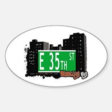 E 35th STREET, BROOKLYN, NYC Oval Decal