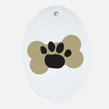 Dog Lover Paw Print Ornament (Oval)