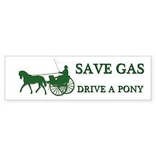 SAVE GAS Drive A Pony Bumper Car Sticker