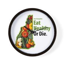 NH Eat Healthy Or Die Wall Clock