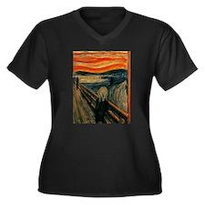 The Scream Women's Plus Size V-Neck Dark T-Shirt