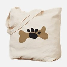 Dog Bone & Paw Print Tote Bag