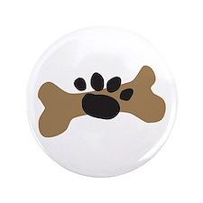 """Dog Bone & Paw Print 3.5"""" Button"""