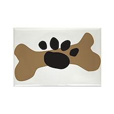 Dog Bone & Paw Print Rectangle Magnet