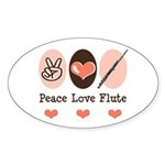 Peace Love Flute Oval Sticker (50 pk)