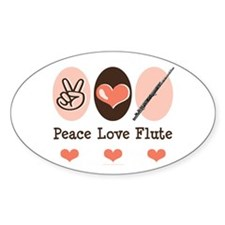 Peace Love Flute Oval Decal