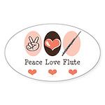 Peace Love Flute Oval Sticker