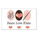Peace Love Flute Rectangle Sticker 10 pk)