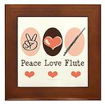 Peace Love Flute Framed Tile