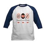 Peace Love Flute Kids Baseball Jersey