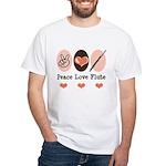 Peace Love Flute White T-Shirt