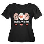 Peace Love Flute Women's Plus Size Scoop Neck Dark