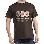 Peace Love Flute Dark T-Shirt