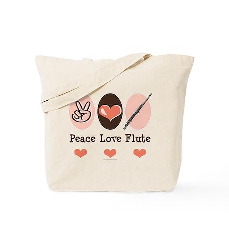 Peace Love Flute Tote Bag