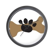 Dog Bone & Paw Print Wall Clock