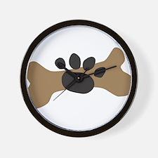 Dog Bone & Paw Print Wall Clock