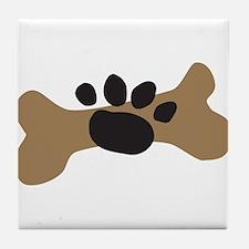 Dog Bone & Paw Print Tile Coaster