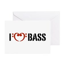 I Love Bass Greeting Cards (Pk of 10)