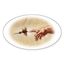 The Creation of fly fishing Oval Decal