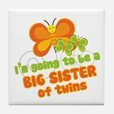 Butterfly Big Sister Twins Tile Coaster