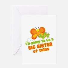 Butterfly Big Sister Twins Greeting Card