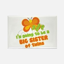 Butterfly Big Sister Twins Rectangle Magnet