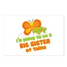 Butterfly Big Sister Twins Postcards (Package of 8