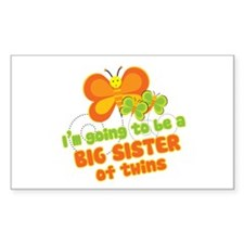 Butterfly Big Sister Twins Rectangle Decal