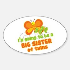 Butterfly Big Sister Twins Oval Decal