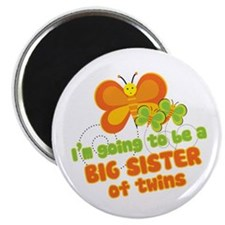 "Butterfly Big Sister Twins 2.25"" Magnet (10 pack)"