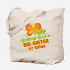 Butterfly Big Sister Twins Tote Bag