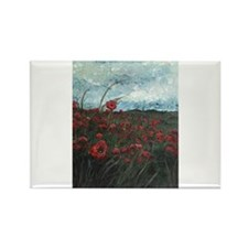 Stormy Poppies Rectangle Magnet