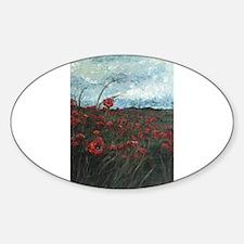 Stormy Poppies Oval Sticker (10 pk)