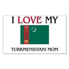 I Love My Turkmenistani Mom Rectangle Decal