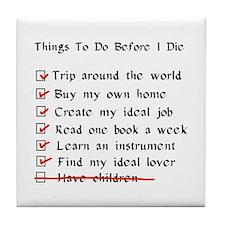 Child-Free Checklist Tile Coaster