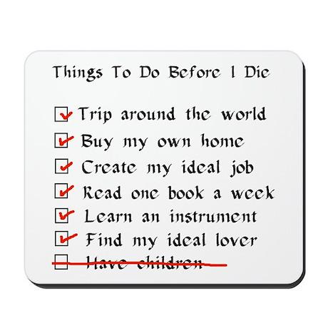 Child-Free Checklist Mousepad